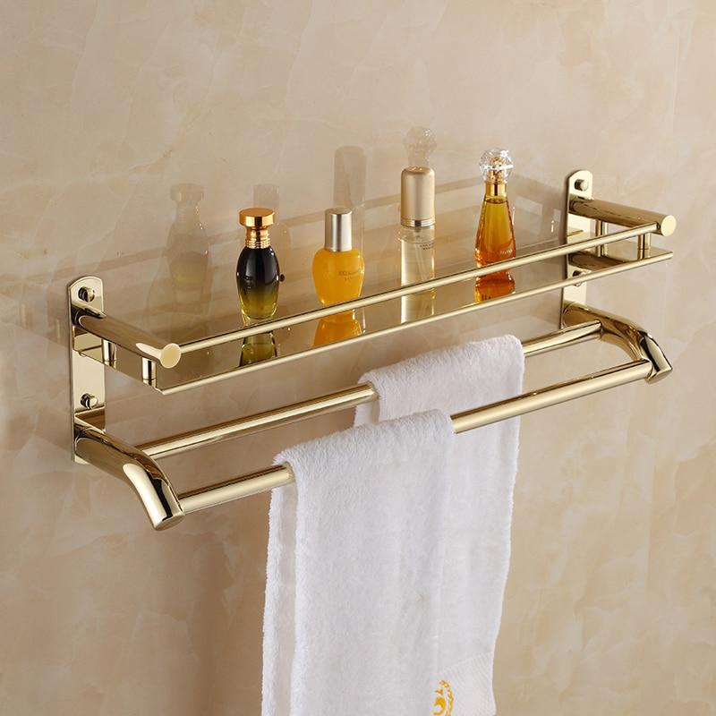 Gold Shower Rack Layer Number Bathroom Accessories Bathroom Towel Shelf 2 Layer Corner Storage Holder Shelves Bath Hardware Set