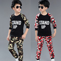 Size 120cm-160cm Child winter set child's Camouflage big boy twinset suits Children clothing sets Kids Long sleeve T-shirt+pants