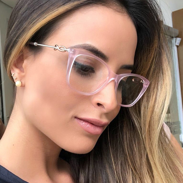 42b724ec5ee7 QPeClou Vintage Cat Eye Glasses Frame Women New Brand Decorative Clear Lens  Glasses Female Cateye Eyeglasses Frames UV400