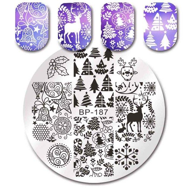 BORN PRETTY Christmas Theme Nail Art Stamping Plates Santa Snowflake Jingle Bell Nail Stamp Manicure with Nail Stamper Scarper