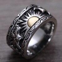 S925 sterling silver ring sun totem Thai Thai silver ring