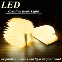 2.5*11*14.7cm Portable USB Rechargeable LED Magnetic Foldable Wooden Book Lamp Night Light Desk Lamp Hot Sale for Home Decor