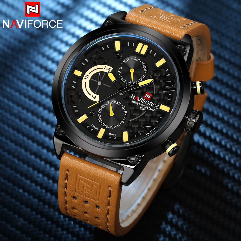 NAVIFORCE Men's Fashion Casual Quartz Watch Men 30M Waterproof Sport Watches Black Stainless Steel Mesh 24 Hour Calendar Clock