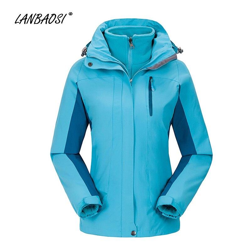 LANBAOSI extérieur femmes 3in1 randonnée vestes à capuche coupe-vent imperméable polaire Liner chaud hiver ski de neige escalade Camping