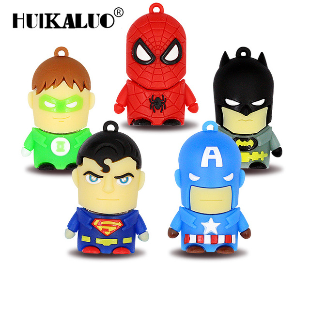 2017 Hot Cartoon Super heros usb flash drive Batman/Superman Pen drive Memory Stick 4GB 8GB 16GB 32GB 64GB pendrive Avengers