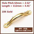 "Length 112mm Hole Pitch 64mm  Gold furniture handle Hole C:C:64mm 2.52"" Length 112mm 4.41"" kitchen cabinet drawer handle pulls"