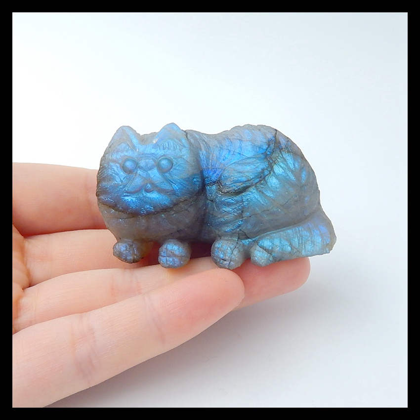 Blue Light Labradorite Carved Cat for Aniamal Lover Cabochons ,55x33x32mm,79.4g - 3