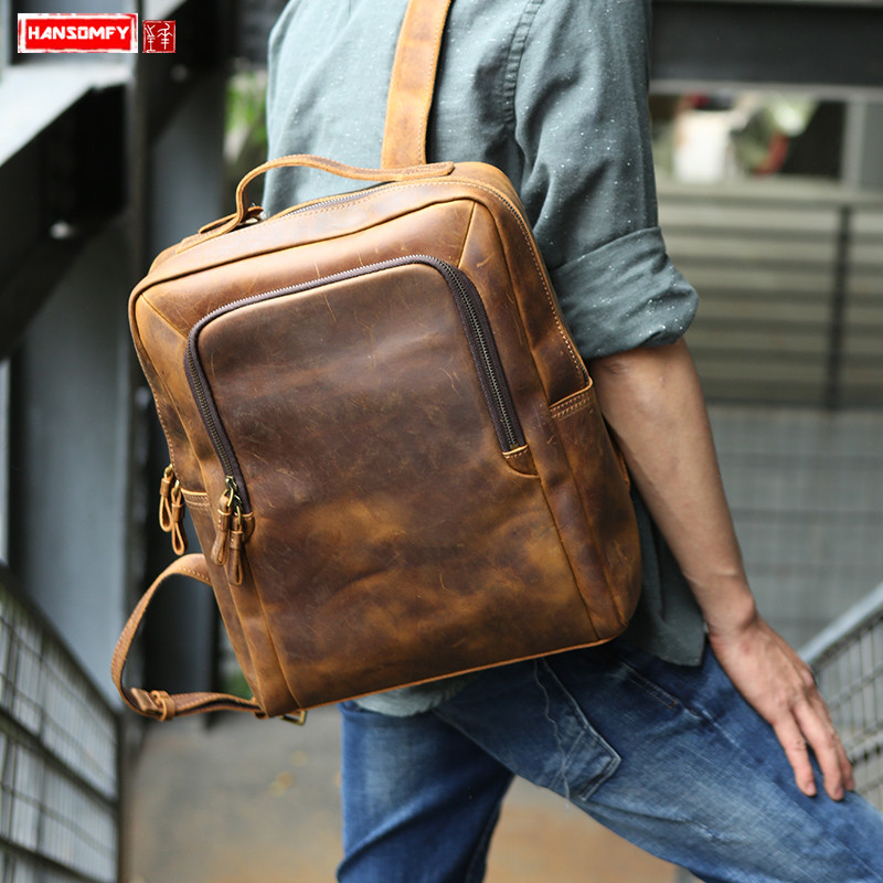 394e897162e9 Crazy horse leather retro Men backpack computer bag men s first layer  cowhide large capacity simple 15