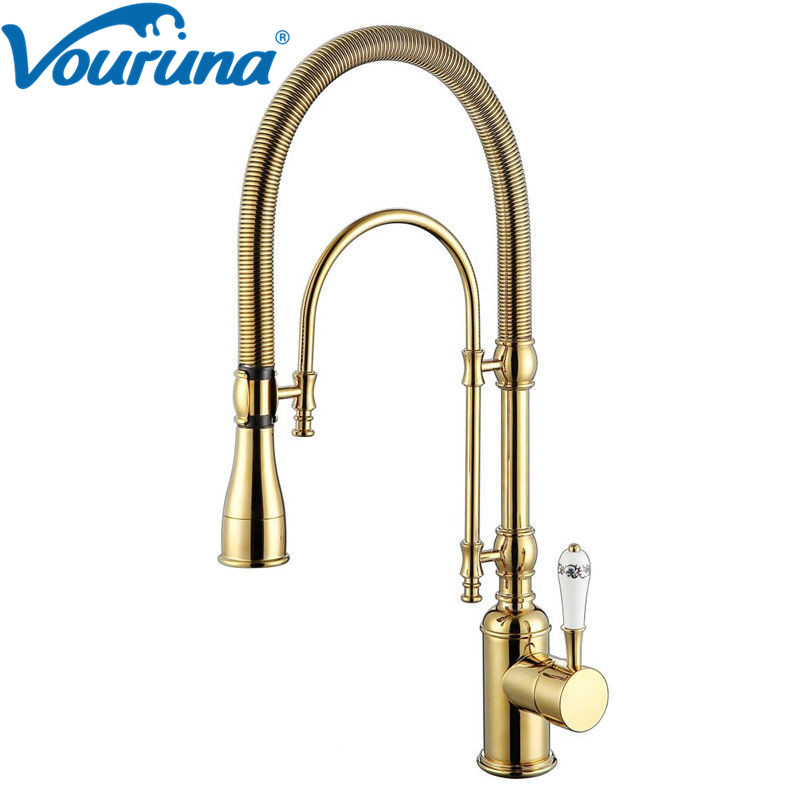 VOURUNA Luxurious Premium Commercial Pre-Rinse Golden Pull Down Spring Kitchen Faucet Gooseneck Pull Out Sink Mixer Tap