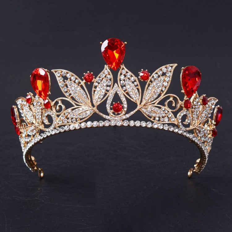 Vintage Red Crystal Bridal Tiara Fashion Gold Rhinestone Diadem for Women Wedding Dress Hair Jewelry Princess Crown Accessories