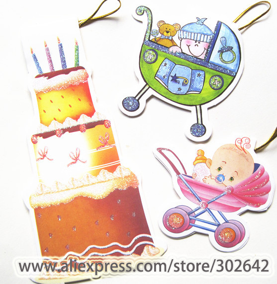 Business Cards 160pcs Baby Born Greeting Card Hang Rope Kids Happy