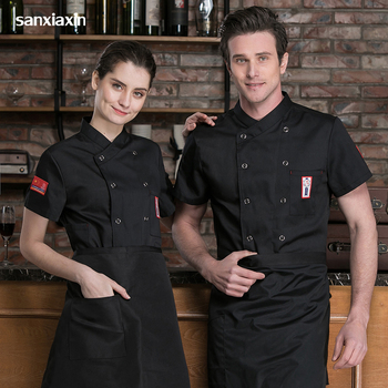 new chef Work shirt Double Breasted Restaurant Kitchen Chef Cook Jacket Catering Bar Waiter Waitress Uniform Wholesale chef coat women men chef waiter waitress uniform cook kitchen accessories apron with pockets restaurant craft baking bbq work apron