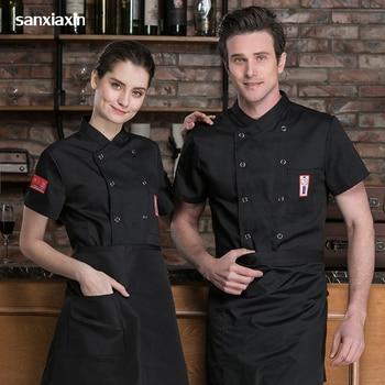 цена new chef Work shirt Double Breasted Restaurant Kitchen Chef Cook Jacket Catering Bar Waiter Waitress Uniform Wholesale chef coat онлайн в 2017 году