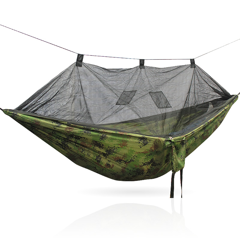 Portable Outdoor Hammock for 2 people Garden Hanging Bed Army Green/Camo Outdoor Camping Hunting Mosquito Net Parachute Hammock army green khaki double outdoor hammock