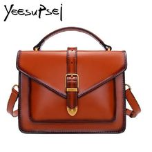 YeeSupSei Women Classic Handbag Cow Leather Vintage Female Shopping Hasp Shoulder Bags Zipper Banquet