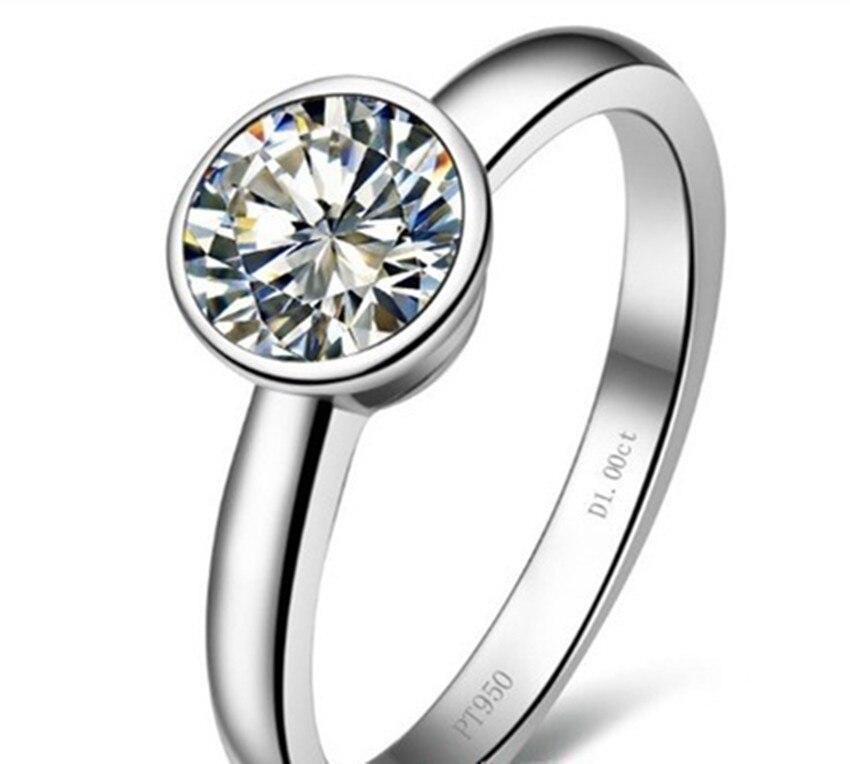 تصميم جديد 1 ct جولة بريليانت سونا محاكاة الماس خاتم مع الفرقة خاتم فضة مع صندوق الأصلي-في خواتم من الإكسسوارات والجواهر على  مجموعة 1