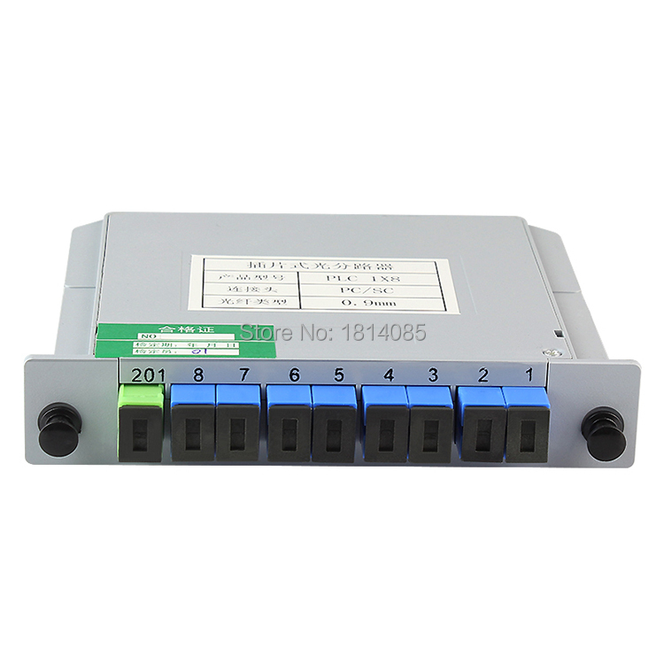 Free Shipping 1x8 LGX Box Cassette Card Inserting SC/UPC PLC splitter Module 1:8 8 Ports Fiber Optical PLC Splitter