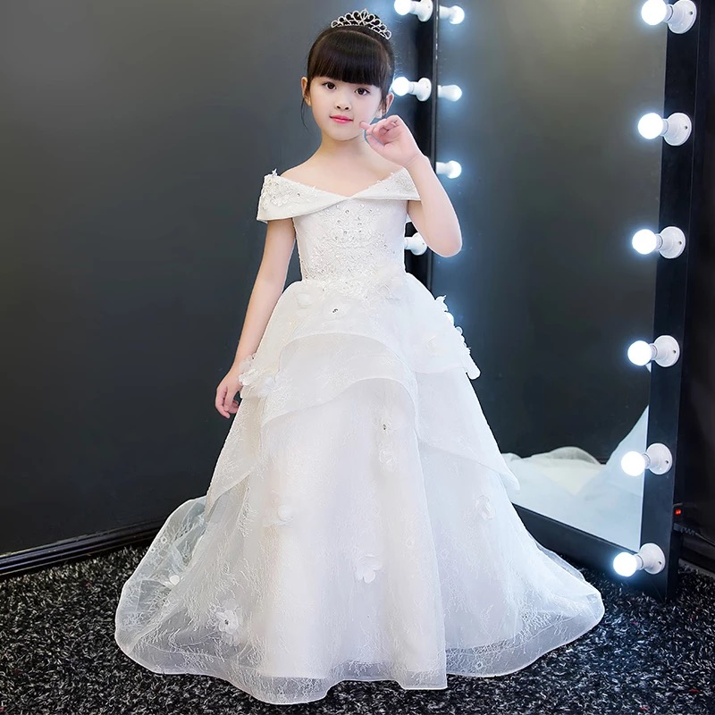 New Arrival Luxury Elegant Long Trailing Girls Kids Wedding Princess Lace Dresses Children Birthday Gown First Communion DressNew Arrival Luxury Elegant Long Trailing Girls Kids Wedding Princess Lace Dresses Children Birthday Gown First Communion Dress