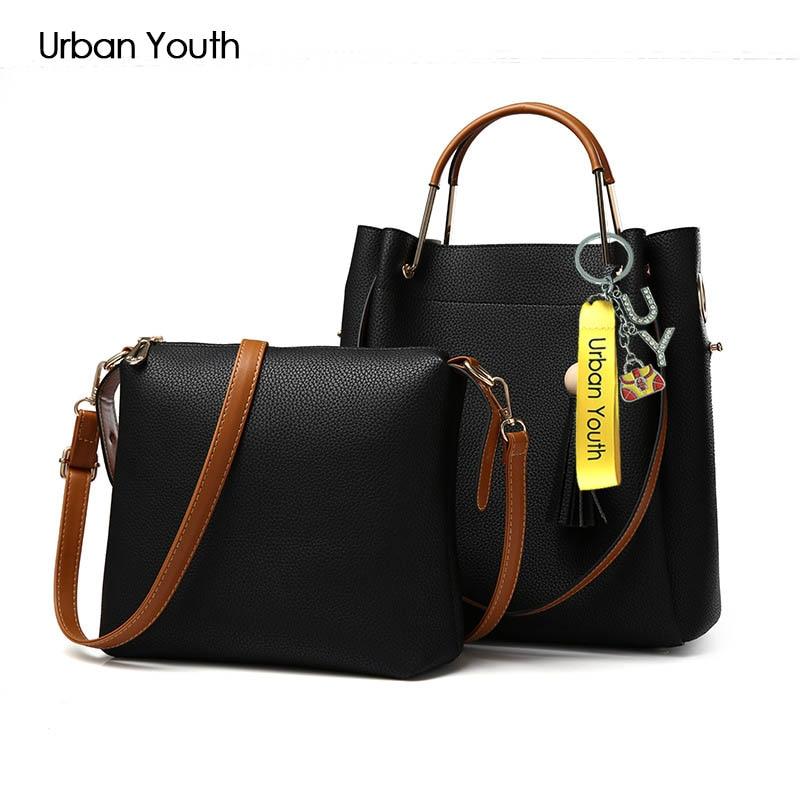 Urban Youth Fashion Women Handbags PU Leather Alloy Top-Handle Tote Bag Large Capacity Shoulder Bag Women Bag Set sac a main