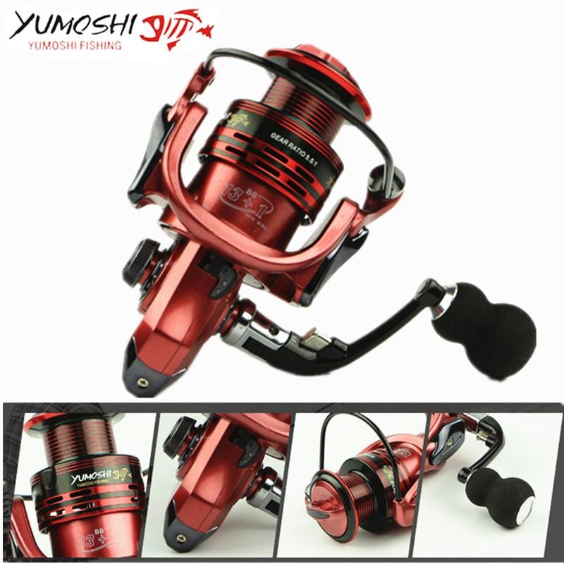 YUMOSHI All-metal arm 13+1BB spinning fishing reel EVA Handle fishing reels XF1000-7000 series Gapless metal spinning wheel