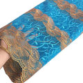 Teal blue handcut african cord lace fabrics high quality 2016 embroidery rhinestones swiss voile lace in switzerland