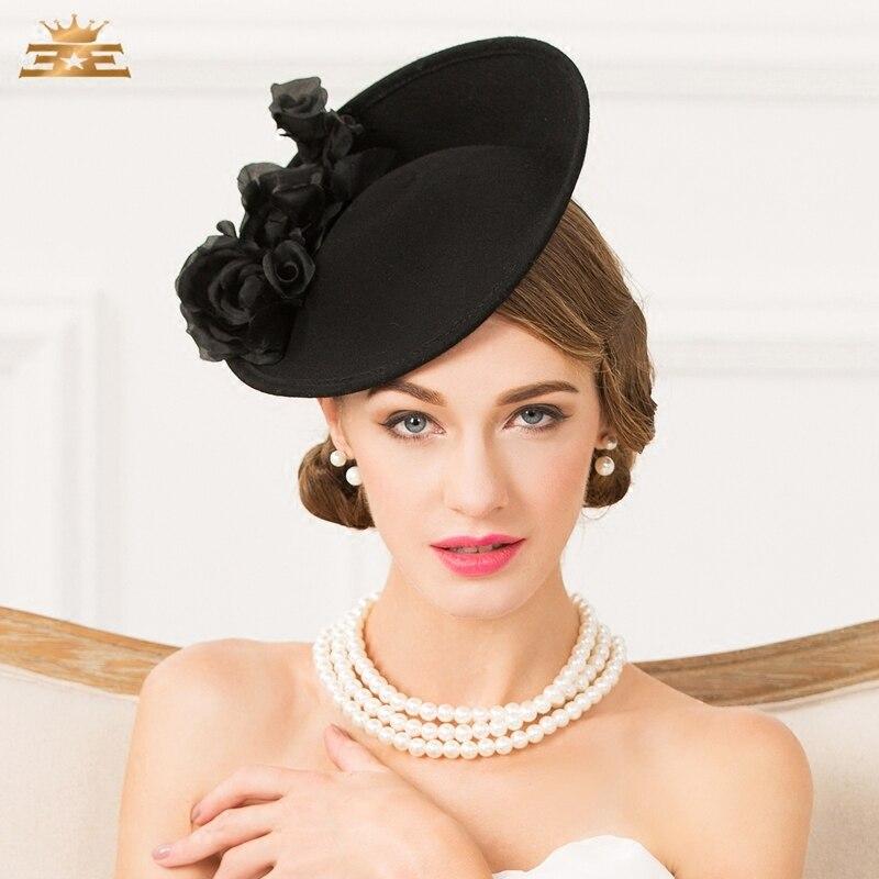Charming ! Women Fedora Hat for Woman Fedora Hats Lady Fashion Winter Wool Hat British Small Hat and Horse Dress Cap B-4779