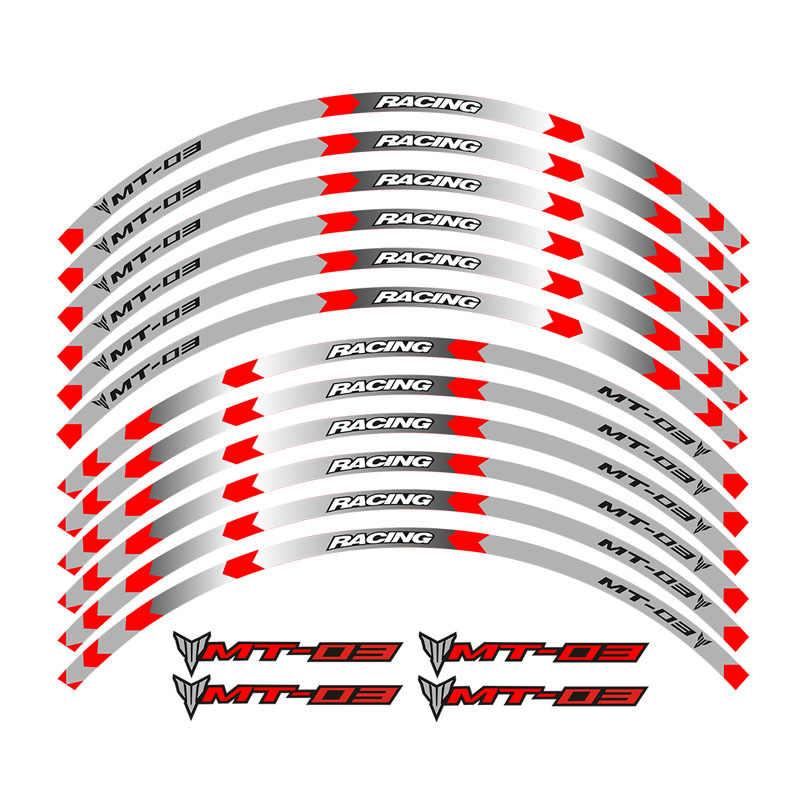 حار بيع النارية stripes الشارات ملصقات عاكسة حافة العجلة لياماها MT-03 مخصص ريم المشارب عجلة مائي الشريط اللاصق
