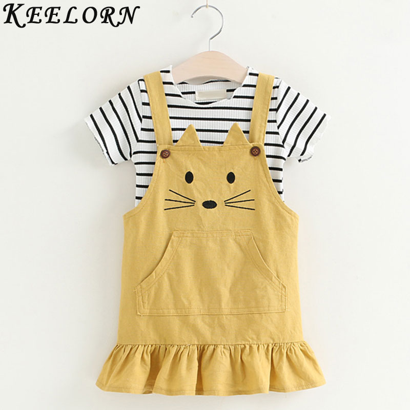 Keelorn Girls Dress 2017 New Princess Girls Clothes   short-sleeved Striped cat pattern dress for Kids Clothes keelorn girls dress 2017 new brand princess dress kids clothes cartoon print for girls dress children clothes 2 6y for kids