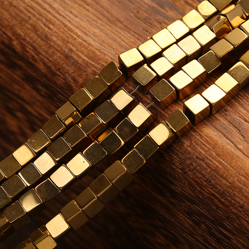 Strict Kangkang Wholesale Stone Gold Hematite Cube Square Loose Spacer Beads For Making Bracelets Necklace Diy Charm Jewelry 4mm Pure And Mild Flavor Jewelry & Accessories