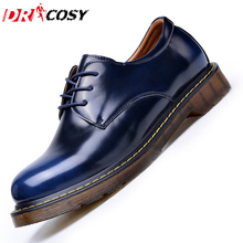 Fashion Casual Genuine Leather Men Oxford Shoes Men Lace-Up Low Top Tooling Shoes Men's Patent Leather Martin Shoes Size 39-44