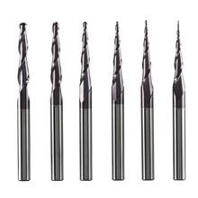 텅스텐 단단한 초경 엔드 밀 4mm 6mm 8mm 볼 코 테이퍼 엔드 밀 라우터 비트 CNC 테이퍼 목재 금속 밀링 커터