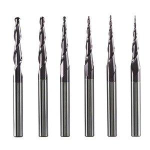Image 1 - טונגסטן מוצק קרביד סוף מיל 4mm 6mm 8mm כדור האף Tapered קצה מילס נתב Bits CNC להתחדד עץ מתכת כרסום קאטר