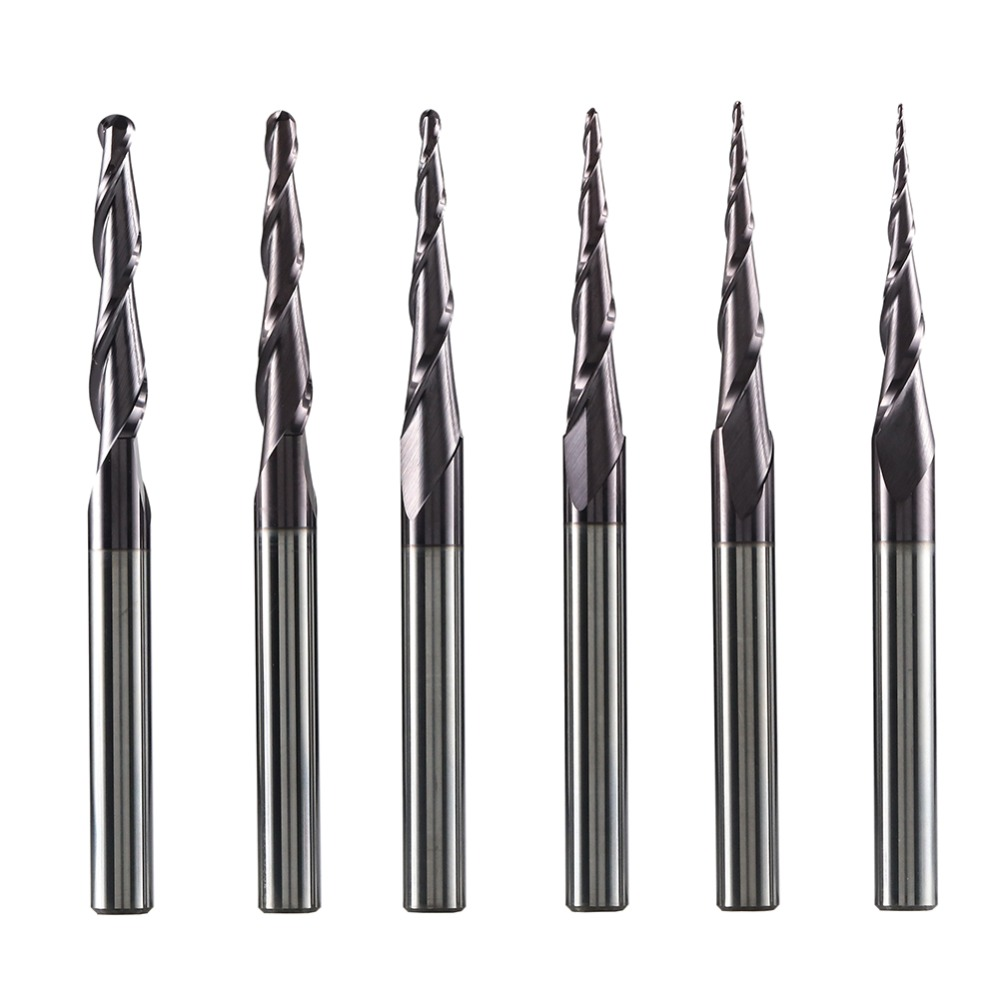 6Pcs Tapered Ball Nose End Mill Solid Carbide 6mm Shank CNC Router Carving Bits