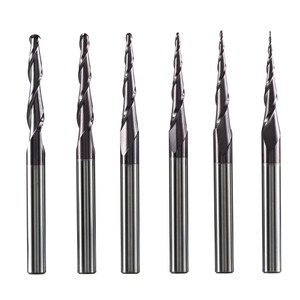 Tungsten Solid Carbide End Mill 4mm 6mm 8mm Ball Nose Tapered End Mills Router Bits CNC Taper Wood Metal Milling Cutter