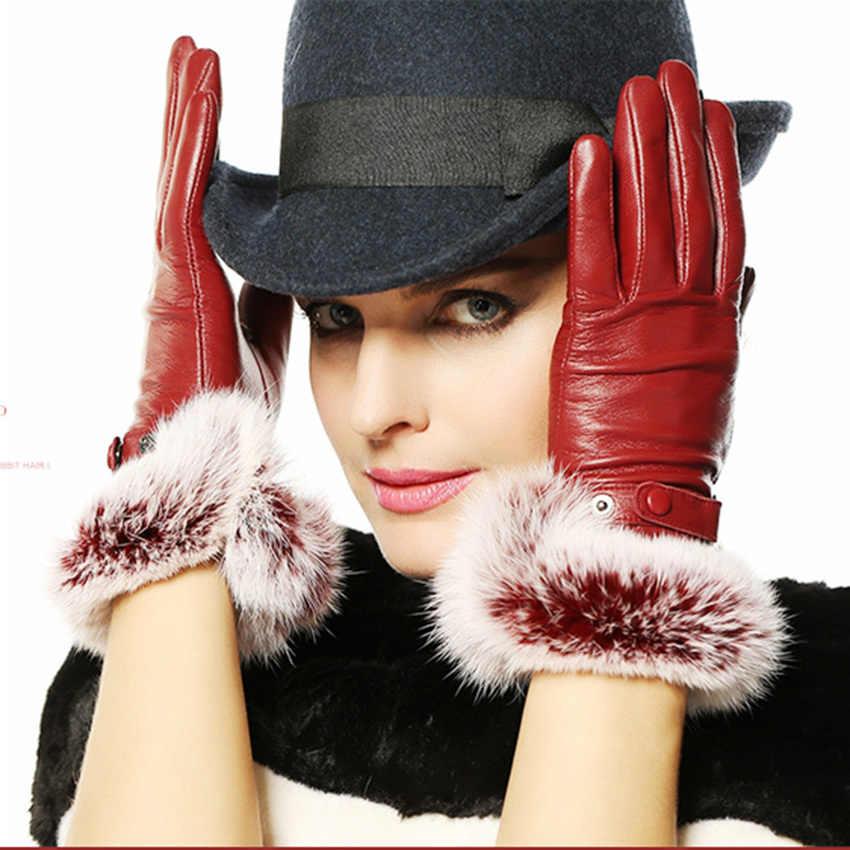 2019 期間限定の本革手袋女性のファッションエレガンス手首羊皮手袋暖かい冬駆動 L139NQ