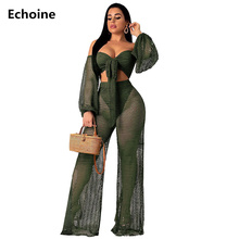 Sexy Hollow Out Sheer Mesh 2 Piece Set Crop and Pants Off-shoulder Strapless Top Wide Leg Pants Club Outfit Elagant Party Set