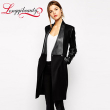 2016 New Cheap Autumn Long Trench Coat Women Fashion Long Sleeve PU Patchwork Windbreaker Slim Lapel Black Abrigos Mujer Coats