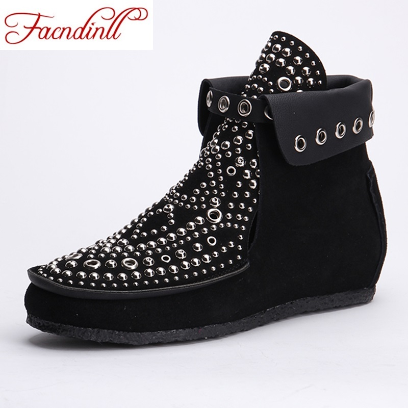 autumn shoes hand-made fashion rivets studded ankle boots for women ladies black short booties suede leather motorcycle boots elastic band women genuine leather ankle boots chelsea hand made shoes motorcycle coincise fashion black matte women s boots