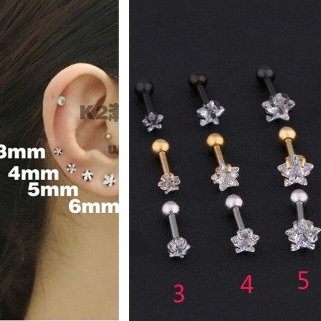 Cartilage Earring Star Zircon Stud Earrings Tragus Helix Piercing Stainless Steel For Women Single Gifts