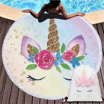 Cartoon Unicorn 150cm Round Beach Towel Wall Tapestry Picnic Blanket Portable Outdoor Sport Storage Bag Bundle Pocket Kids Gift 29