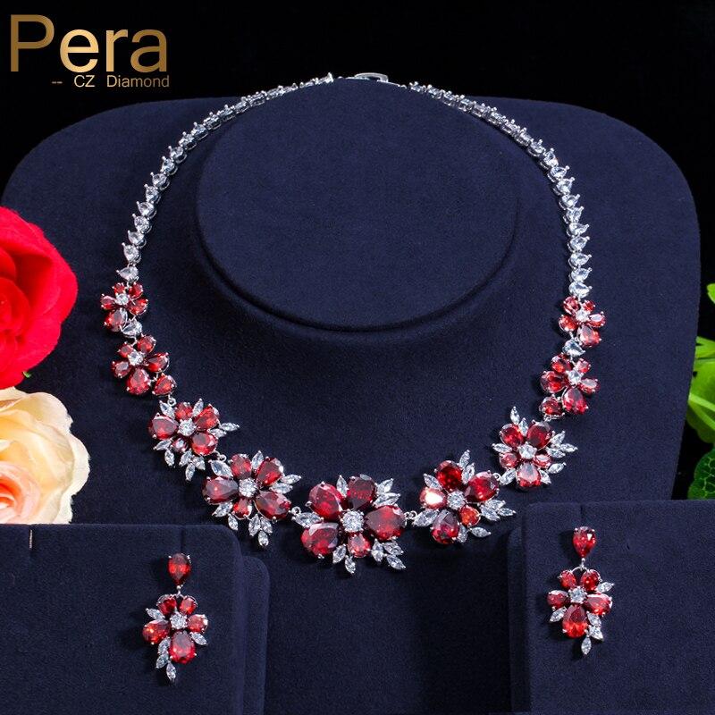 Pera CZ красные ювелирные аксессуары роскошные русские свадебные Большие Кластерные цветочные хрустальные свадебные ожерелья и серьги для не