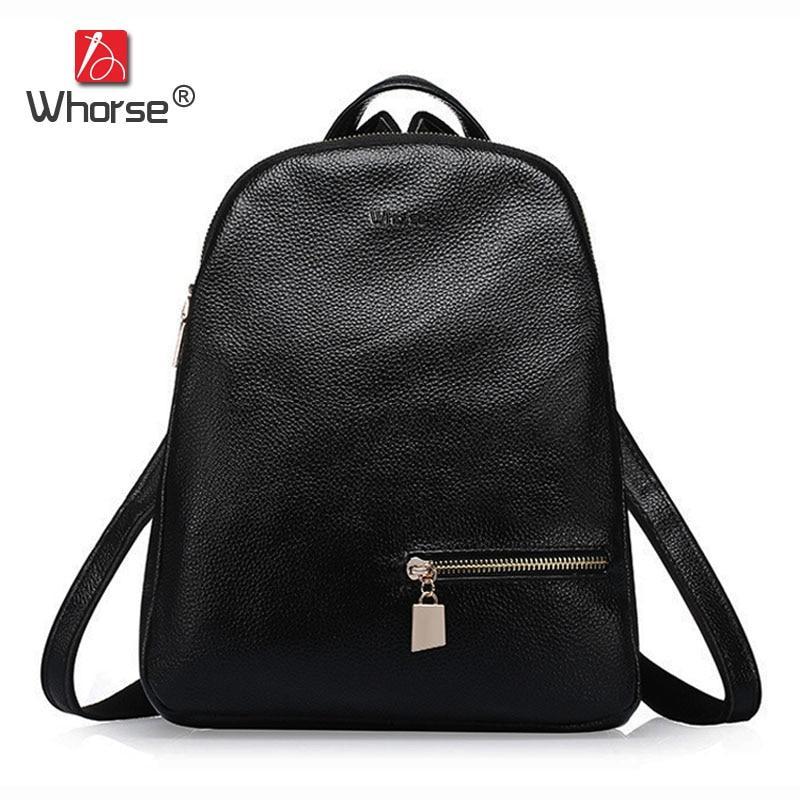 цена на Famous Brand Backpack Black Soft Real Cowhide Womens Backpacks School Bags Genuine Leather Ladies Back Pack W07160-1