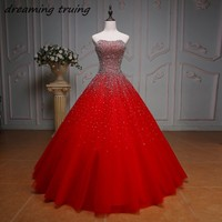 Sparkly Beaded Sequined Ball Gowns Red Quinceanera Dresses Sweet 16 Dresses Girls Brithday Prom Party Dress