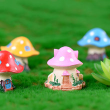 4 Style Rural Mushroom House Fairy Garden Miniatures Gnomes Moss Terrariums Resin Crafts Figurines Home Decoration(China)
