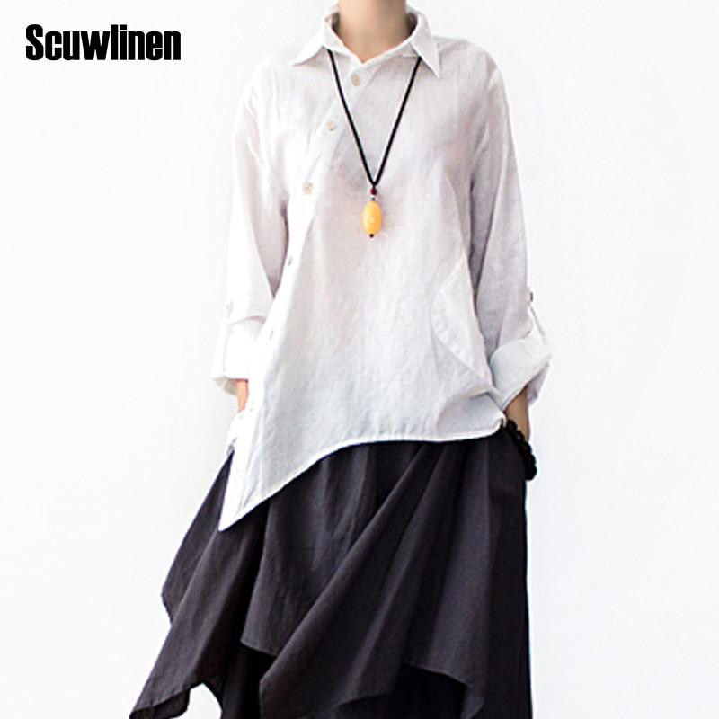 SCUWLINEN 2019 Sommarhöst Loose Plus Storlek Original Asymmetri Design Solid Skjorta Kvinnlig Linne Skjorta Kvinnor Tillfälligt Toppar S197