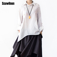 SERENELY 2016 Spring Summer Loose Plus Size Original Asymmetry Design Solid Shirt Female Linen T Shirt