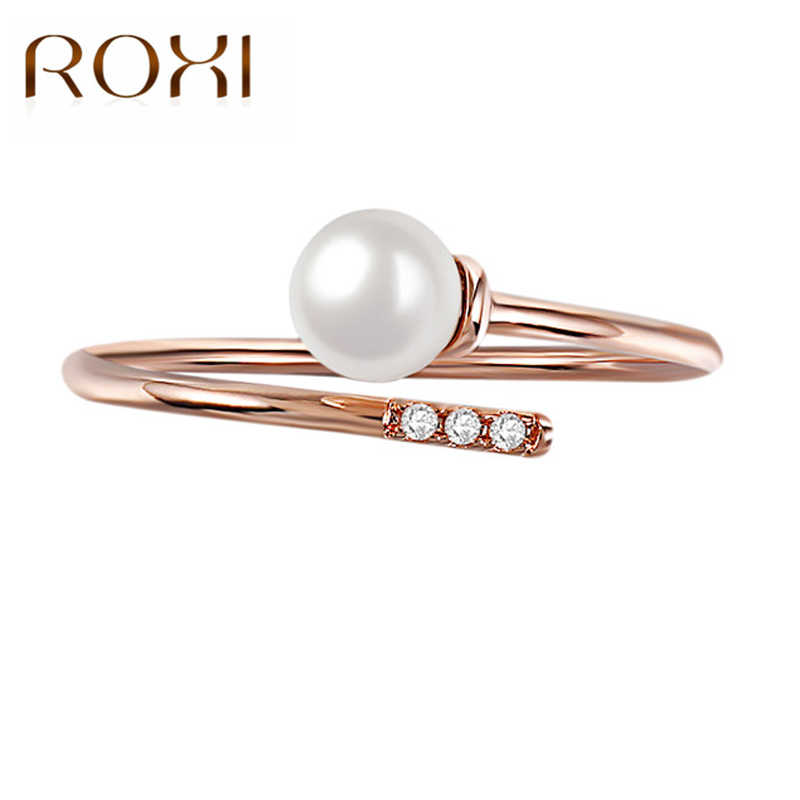 ROXI Fashion Bague Adjustable Open Rings for Women Rose Gold Wedding Ring Charm Jewelry Imitation Pearl Rings anillos mujer