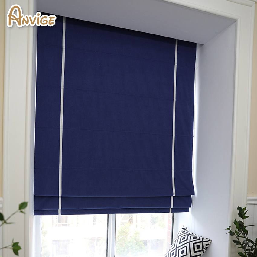 Anvige Modern Navy Blue Printed Roman Shade Rollor Blind Window Curtains For Living Room In Blinds Shades Shutters From Home Garden On Aliexpress