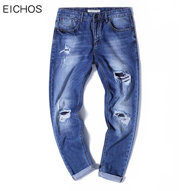 fb0b7c350c EICHOS 2018 Summer Holes Ankle-Length Pants Men 98%Cotton Slim Fit  Pantalones Vaqueros Hombre Hip Hop Teens Skinny Jeans Men
