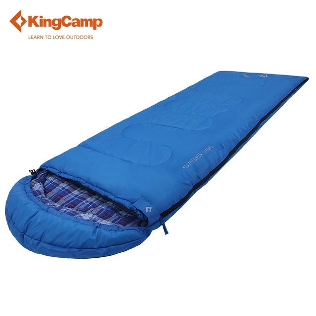 KingCamp Camping Envelope Sleeping Bag With Flannel Lined Spring Autumn Summer Hood